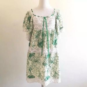 Pls Read - Binetti Dress Crochet Embroidered Floral Green White Size 6